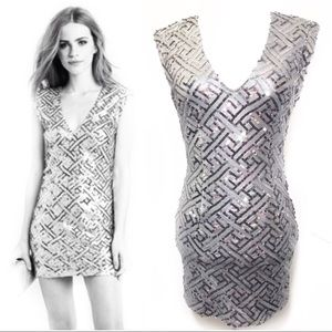 Forever 21 S Silver Sequin Bodycon Dress Gatsby